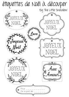 Printable Christmas gift tags - in French! Christmas Labels, Christmas Tag, Christmas Printables, Christmas Crafts, Theme Noel, Printable Tags, Diy Weihnachten, Free Prints, Christmas Inspiration