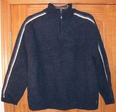 AMERICAN EAGLE OUTFITTERS Size XXL Navy Blue Zip Neck Sweater 100% LAMBS WOOL #AmericanEagleOutfitters #ZipNeck