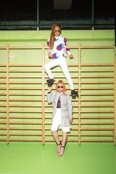 Natalja :sunglasses / Acne Studiosshirt / PLACtop / MSGMshorts / D.Gnakshoes / 3.1 Phillip LimLhaga :sunglasses / Acne Studiossweater / Championjeans / Victoria Beckhamshoes / Joshua Sanders