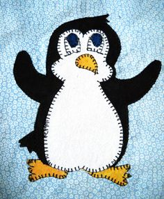 Penguin PDF applique quilt pattern easy zoo animal applique