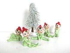 Vintage Christmas Elf Figurines, Ceramic Pixie Figurines From Japan, Retro Christmas Shelf Decor by HerVintageCrush on Etsy https://www.etsy.com/listing/477328367/vintage-christmas-elf-figurines-ceramic