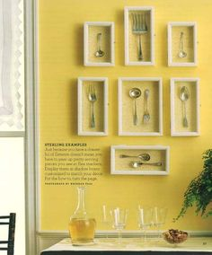 Framed collector spoons.  Now THIS one I'd actually hang on my wall.  Unlike those cheesy wood spoon racks that do nothing for your decor.