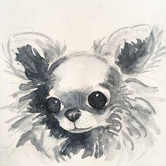 Watercolor chihuahua Custom Dog Portraits, Pet Portraits, Watercolor Animals, Watercolor Print, Dog Pop Art, Chihuahua Art, Dog Paintings, Cartoon Dog, Painting Inspiration