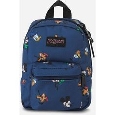Jansport X Disney Gang Dot Lil' Break ($20) ❤ liked on Polyvore featuring bags, jansport, mini zip bags, patterned backpacks, backpack bags and mini rucksack