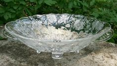 75.00 Cambridge Wildflower Etched Glass Footed Oval Bowl with Ear Handles