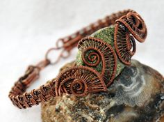 Copper Woven Wire Helix Bracelet with Twisted by ggChambersDesigns, $59.00