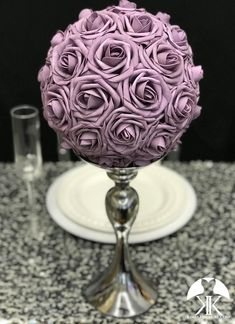 DUSTY LAVENDER Flower Ball made with PREMIUM Real Touch Roses. Pick Rose Color!!  You will be amazed at how real and stunning the flowers look. A colored ribbon to match your wedding theme can be added if requested. These look amazing hanging from branches, hooks, chairs in your ceremony and Dusty Rose Wedding, Dusty Blue Weddings, Bling Wedding, Plum Wedding, Yellow Wedding, Nautical Wedding, Luxury Wedding, Boho Wedding, Fall Wedding