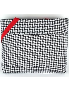 $11.50 Houndstooth with Red Trim Large Tote Bag