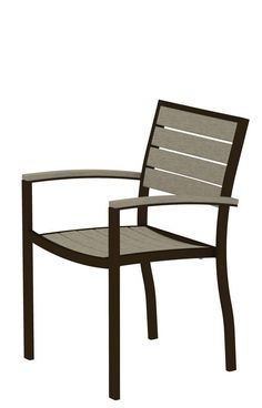 Polywood Euro Textured Silver Patio Dining Side Chair With Sand