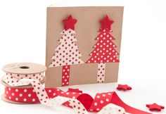 Spotty grosgrain, christmas, creme, card ribbon craft