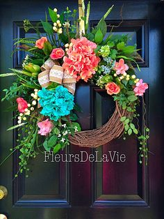 Spring Door Wreath, Southern Door Wreath, Summer Door Wreath, Front door wreath, Grapevine Door Wreath, Hydrangea Wreath