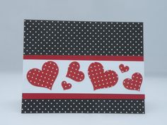 Polkadot Heart Notecard in Red and Black by APaperParadise on Etsy, $3.95