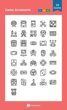 Game Accessorie Icon Pack - 36 Line Icons Png Icons, Vector Icons, Game Design, Icon Design, Video Game Drawings, Doodle Art Letters, Doodle 2, Gaming Tattoo, Gadget Review