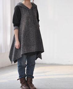 Irregular hooded vest dress / long waistcoat Coat by MaLieb, $68.00