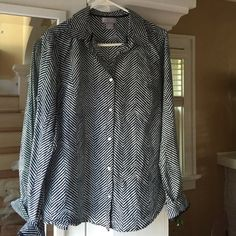JCP brand button front shirt. Fun navy color pattern on this long sleeve shirt.  Worn once. Smoke free/ pet free home jcpenney Tops