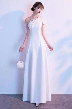 White Prom Dress One Shoulder Party Dress Temperament Evening Dress Simple Generous Formal Dress Long Dress Lace Evening Dresses, Prom Dresses, Formal Dresses, Wedding Dresses, One Shoulder Prom Dress, Dress First, Party Dress, Store, Color