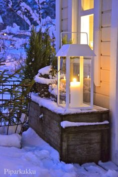 use Luminara's outdoor candles in lanterns on the porch! Christmas Lanterns, Christmas Porch, Outdoor Christmas, Rustic Christmas, Winter Christmas, Merry Christmas, Christmas Decorations, Winter House, Winter Garden