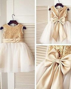 Scoop Bronze Gold Sequin Ivory Tulle Floor-length Flower Girl Dress with Champagne Bow