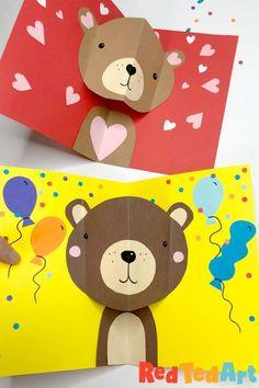 Pop Up Valentine Cards, Bear Valentines, Valentine Crafts For Kids, Simple Birthday Cards, Kids Birthday Cards, Bear Birthday, Birthday Fun, Pop Up Card Templates, Bear Card