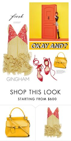 """""""TWICE Knock (2x)"""" by lydiarts ❤ liked on Polyvore featuring Lanvin, MoMo, MSGM, red, dress, kpop, gingham and orangeandyellow"""