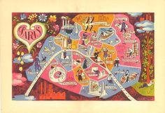 Illustrated Map of Paris, 1949 Vintage