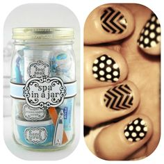 Spa in a jar gift idea. Cute for girlfriends, new moms or moms to be. Add favorite beauty finds like Jamberry nail wraps!