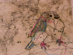 sewn fledgling I like the idea of sketching with stitch and colouring in some parts and leaving loose threads