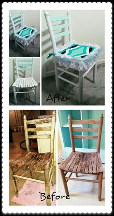 This little antique chair was in the trash before I rescued it and gave it a sweet shabby chic makeover.  I painted it with Shabby Paints Snow White and Mojito. I used a bit of Stunning Silver glaze and Pearl White Shimmer and finished with Shabby Varnish. I got a new little seat cushion and made the seat cover myself. #shabbypaints #antiquechair #shabbychic