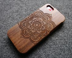 Walnut wood iPhone 5C case  iPhone5C case  mandala door SilentCicada, $24.99