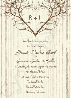 Printable Wedding Invitation - 5x7 - Branch Heart - Vintage Rustic Nature Woodland Tree Twigs - Brown Tan Sepia Ivory Cream. $18.00, via Etsy. LOVE