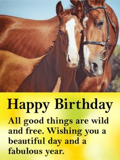 Wishing You a Fabulous Year! Happy Birthday Card: Horse lovers know: all good things are wild and free. Here's a card for the free spirits, for the tender and fierce hearted, and for those who believe in the beauty of their dreams. Wish someone a beautiful day and a fabulous year with this special birthday card. The majesty and wisdom of horses comes through in this gorgeous birthday card.