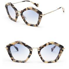 Miu Miu Geometric Sunglasses ($460) ❤ liked on Polyvore featuring accessories, eyewear, sunglasses, glasses, miu miu, miu miu eyewear, miu miu glasses and miu miu sunglasses