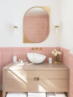 Pink Bathroom Tiles, Bathroom Wallpaper, Small Bathroom, Pink Toilet, Dream Bathrooms, Pink Bathrooms, Bathroom Interior Design, Bathroom Renovations, Bathroom Inspiration