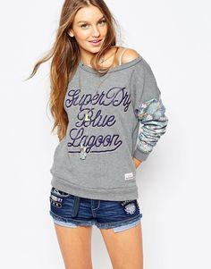 Superdry Sweatshirt With Floral Sleeves