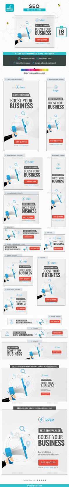 SEO Banners — Photoshop PSD #search #promotions • Available here → https://graphicriver.net/item/seo-banners/15015715?ref=pxcr
