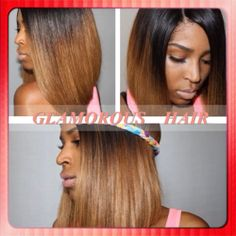 Glamorous unprocessed virgin hair two tone ombre #1bT4 bob wigs glueless full lace/lace front human hair wigs with bleached knot US $120.00 - 225.00