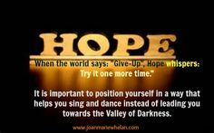 Never give up on Hope!   www.joanmariewhelan.com