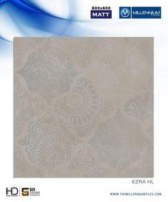 "Millennium Tiles 800x800mm (32x32) Vitrified Matt Porcelain XL Tiles Series ""Ezra HL"""