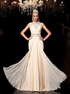 A-Line/Princess Sheer Neck Beading Sleeveless Floor-Length Chiffon Dresses JollyProm