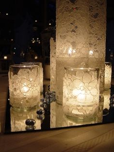 DIY Lace Covered Candle Holders