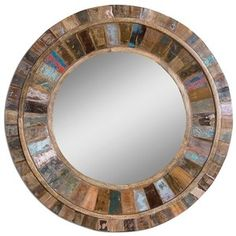 Shop for Uttermost Jeremiah Round Wood Mirror, and other Accessories Mirrors at The Sofa Store in Towson and Glen Burnie, MD. Frame is made of individual panels of reclaimed old doors fastened to solid mango wood. Colors will vary on each piece. Farmhouse Wall Mirrors, Rustic Wall Mirrors, Wood Framed Mirror, Wall Mounted Mirror, Diy Mirror, Wood Wall, Mirror Ideas, Mirror Collage, Decorative Mirrors