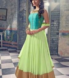 Buy Light green net embroidered semi stitched salwar with dupatta anarkali-salwar-kameez online
