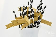 Black & White Stripe Paper Straws with Gold Glitter Flags - 24 count - New Year 2014