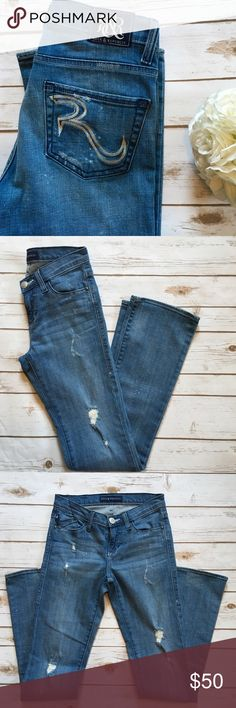 """Rock & Republic Distressed Light Wash Jeans Excellent Used Condition! Light wash distressed denim, flare style, silver R logo on back pockets. Waist: 28"""" Inseam: 32"""" Front Rise: 8"""" Back Rise: 11"""" Rock & Republic Jeans Flare & Wide Leg"""