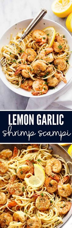 Lemon Garlic Shrimp Scampi is a delicious 30 minutes meal that cooks in a buttery lemon garlic sauce and breaded with a parmesan bread crumb topping. A restaurant quality meal right at home!