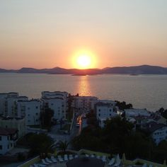 It's a beautiful sunset from our penthouse in Gulluk Turkey #travelblogger
