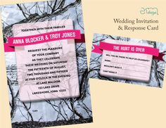 PRICE REDUCED - Camo Wedding Invitation and the Hunt is Over RSVP Card - Country Camo