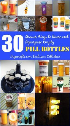 30 genius ways to reuse and repurpose empty pill bottles! These ideas are so great for reusing and recycling pill bottles! Try making something new from your old pill bottles today! Empty Medicine Bottles, Medicine Bottle Crafts, Reuse Pill Bottles, Pill Bottle Crafts, Plastic Bottles, Diy Crafts To Do, Upcycled Crafts, Party Crafts, Kids Crafts