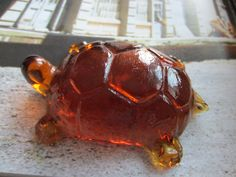 Pressed Glass Amber Turtle Paperweight