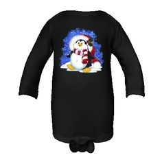 Bundling up in important in the winter, even for penguins! This decorated critter graphic would be perfect to put on a sweater for you or your little one this holiday season, or put it on any Personalized Long Sleeve Infant Creeper - Black. $19.99